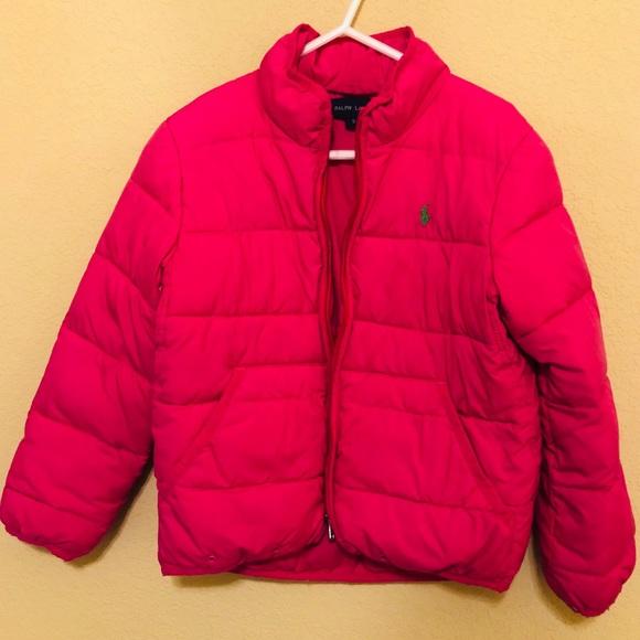 Ralph Lauren Girls Pink Puffer Jacket